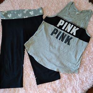 Vs pink bundle deal size large tank and Capri pant